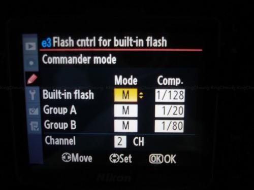 4) built-in flash 是機頂燈的輸出,建議調較到 M model,將輸出較至最小,這樣可以避免影響機頂燈的光源。