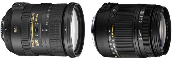 (左) Nikon 18-200mm VR II (右) Sigma 18-250mm f3.5-6.3 dc macro os hsm
