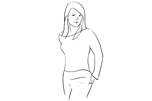 (14) Model可以把身體轉向一旁,手部放在後袋便可。