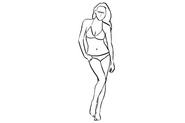 (19) 若果model擁有健美的身形,可以採取這個全身的站姿,要點是要彎曲身體成S形,支點在其中一隻腳。