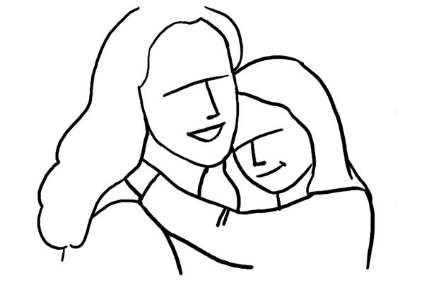 19 讓小孩雙手抱著父母親的脖子,這個動作可以表達出對父母親的愛!