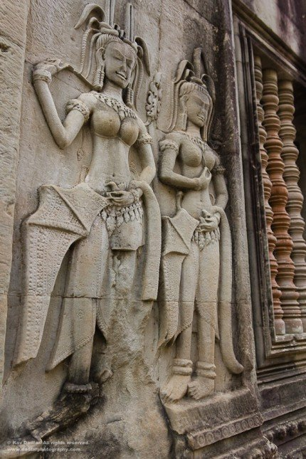 Wall carvings at Angkor Wat.