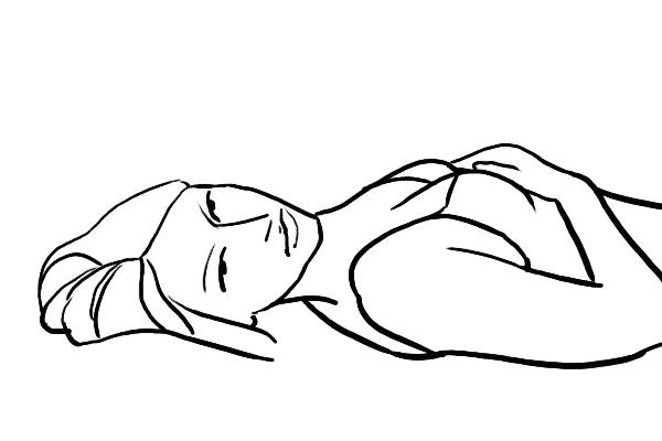 (7) model可以躺在地上,不時移動頭部或手部作產生不同的動作。