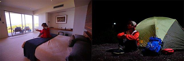(左) Raven嬴了賣明信片比賽,可以免費入住全袋鼠島最高級的酒店一晚﹗正啊﹗ (右) Will比賽賣明信片輸了,要在袋鼠島睡帳篷,但其實睡帳篷可以和袋鼠一齊看星星,比酒店更寫恴呢!