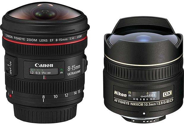 Canon、Nikon等大廠也有推出魚眼鏡頭,圖為 APS-C 相機用的 Fisheye 鏡頭。