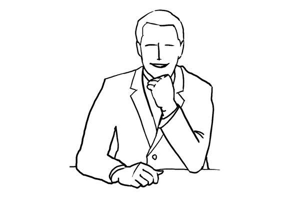 (11) 一個拍攝男生坐在工作枱前的擺姿,枱面可以放一些相關的文具作裝飾。