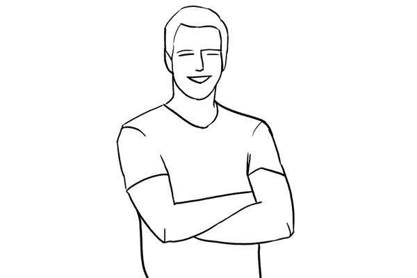 (1) 一個非常簡單的pose:model雙手交叉,只拍攝上半身。兩個留意的地方:膞頭應稍為後移並收緊肚附近的肌肉,即是要適量的「挺胸收腹」啦!