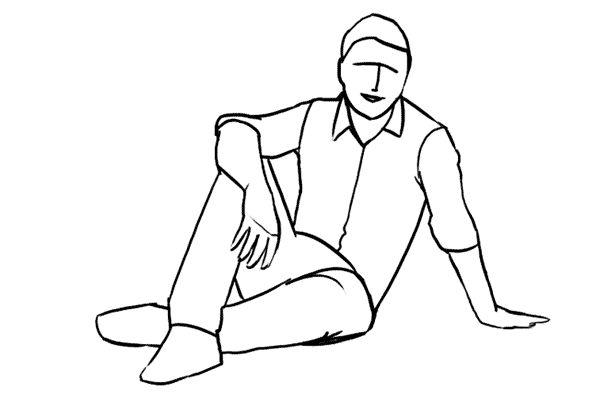 (17) 一個簡單有效的姿勢,請男生放鬆地坐在地上,試試從不同的角度拍攝。