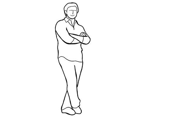(2) 雙手交叉這個動作其實對拍全身照也很好用,不妨也請model交叉一隻腳,但要留意重心不要平放在雙腿,否則會顯得怪怪的。