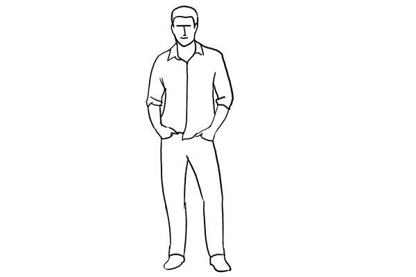 (4) 一個很隨意的pose,男生可以把手全放或半放在褲袋中 ,這樣拍出來比較自然。