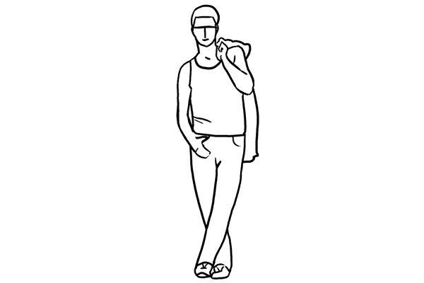 (5) 比上一個pose有一點點分別,就是把一件外套放在膞頭上,然後把拇指插在褲袋上並把腳交叉。