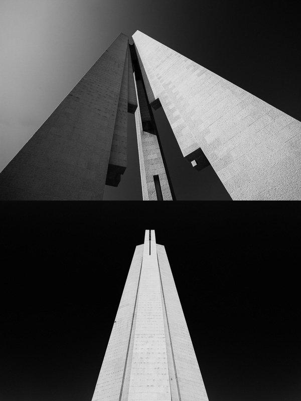 上面的相片攝影師主要著眼於建築物的線條和形狀,利用廣角鏡從底部向上拍攝;下面的相片比較抽象,並用了CPL偏光鏡來加深天空的亮度。