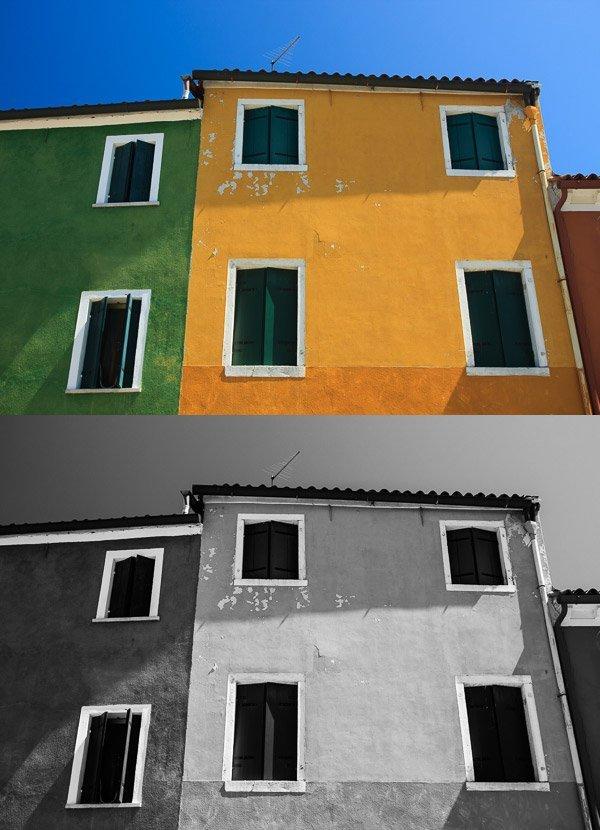 當你的目標建築物物含有豐富的色彩時,焦點便很容易被顏色吸引過去,在日中時陽光直接照射到牆壁,在黑白模式下細節都會顯露出來。 (Photo by {link:http://digital-photography-school.com/how-to-make-the-most-of-hard-light-with-black-and-white-photography/}Andrew S. Gibson{/link})