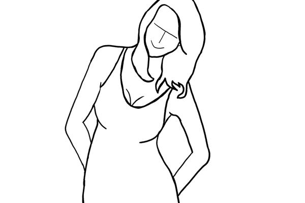 (14) 把手放在身後的 pose,model可以靠牆立站。
