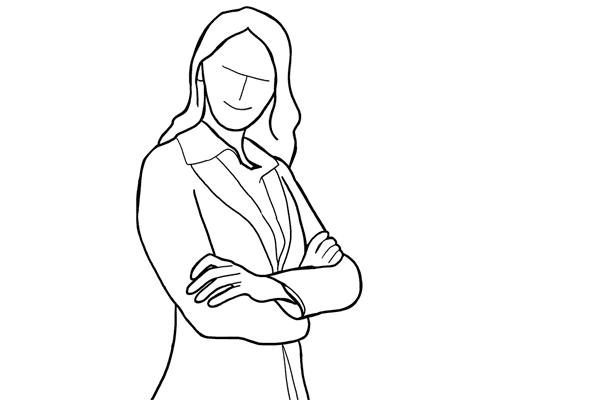 (15) 正式人像照時常用的動作,把雙手交叉胸前,微微側身。