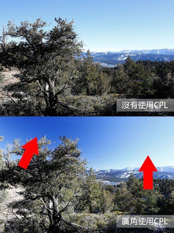 在廣角鏡上使用CPL要留意太陽的位置。 (網上圖片)