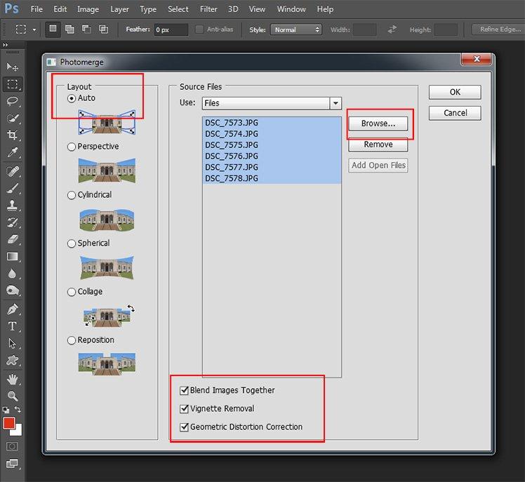 在 Photomerge 工具內導入所有相片。