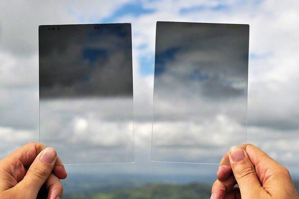 硬漸變(左) 和 軟漸變(右) 的GND濾鏡