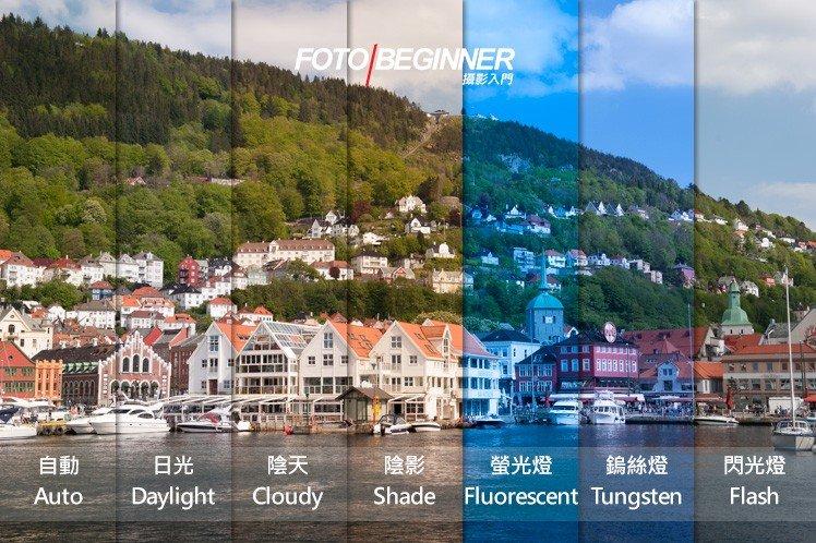 不同的白平衡對相片顏色的影響。