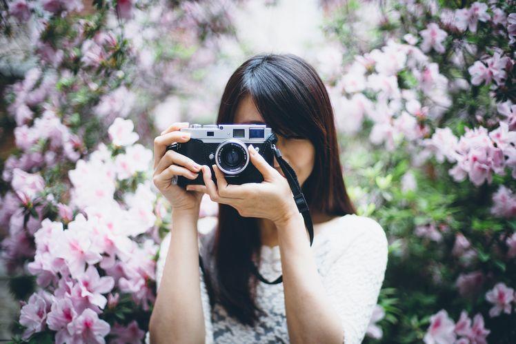 利用大光圈鏡頭去令到背景的杜鵑花變成很夢幻很有趣的背景