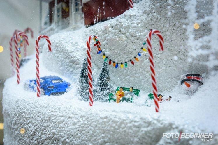 飄雪聖誕樹上的小裝飾也很可愛啊!利用長焦鏡頭把它們也捕捉下來吧!